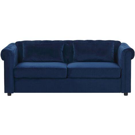 Velvet Sofa Bed Blue CHESTERFIELD