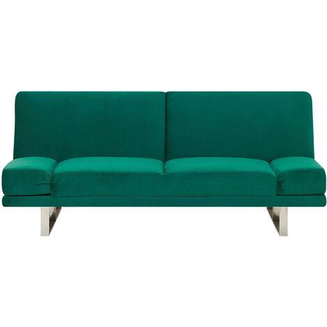 Velvet Sofa Bed Green YORK