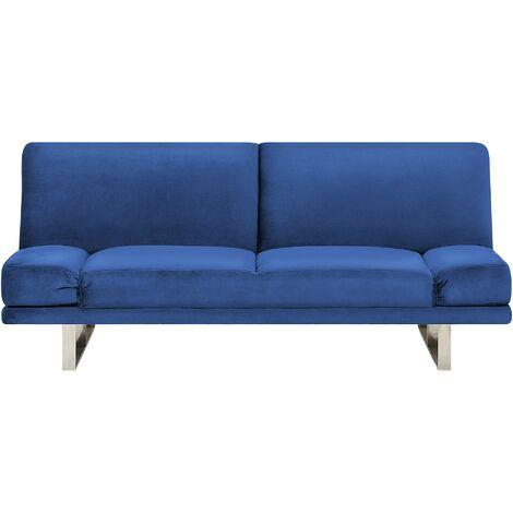 Velvet Sofa Bed Navy Blue YORK