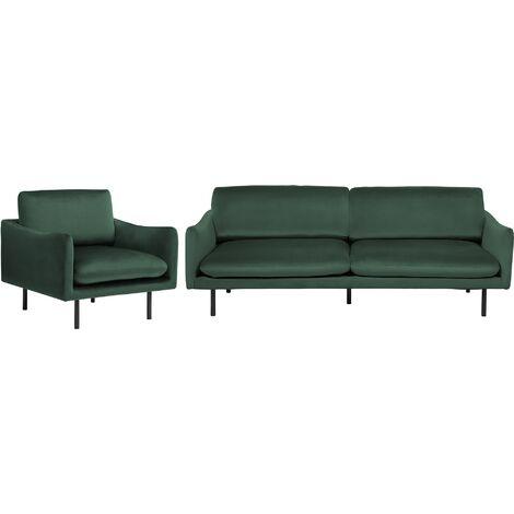 Velvet Sofa Set 3 Seater Armchair Green Cushioned Seat Black Legs Vinterbro
