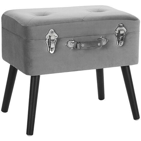 Velvet Storage Stool Grey MALLARD