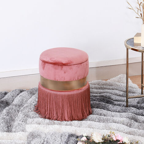 Velvet Tassel Round Dressing Stool Makeup Chair Storage Footstool Seats Pink