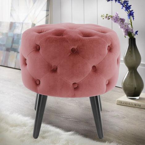 Velvet Tufted Footstool Ottoman Pouffe Dressing Stool Pink