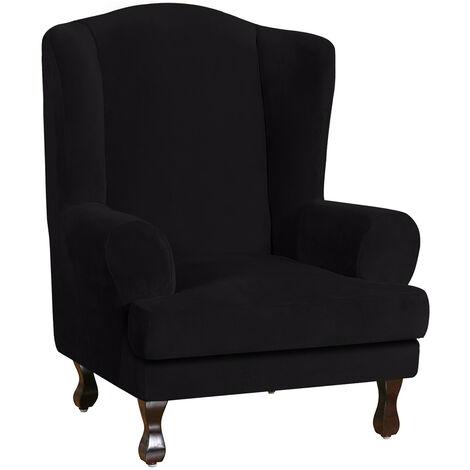 Velvet Ultra Wingback Chair Slipcover Washable Sofa Cover Arm Sofa Cover Black