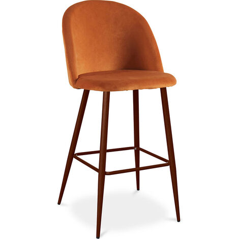 Velvet Upholstered Bar Stool Scandinavian Design with Dark Metal Legs - Evelyne