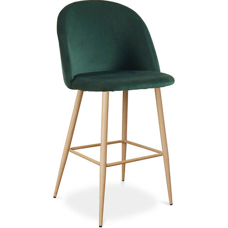 Velvet Upholstered Bar Stool Scandinavian Design with Metal Legs - Evelyne