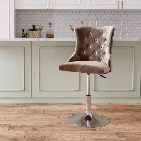 Velvet Upholstered Breakfast Bar Stool Button High Back Dining Chair - Brown