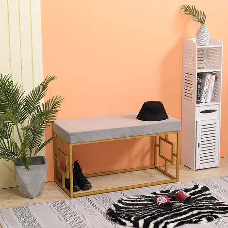 Velvet Upholstered Dining Bench Hallway Window Seat Gold Metal Legs Long Stool Grey