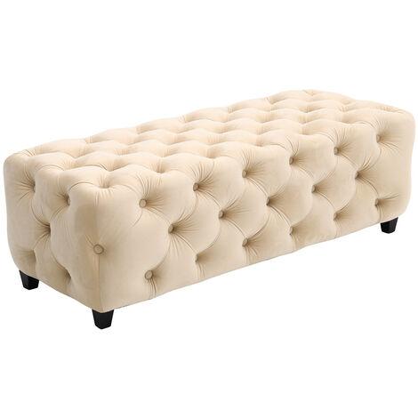 Velvet Upholstered Long Bench 2-3 Seater Ottoman Bedroom Hallway Stool