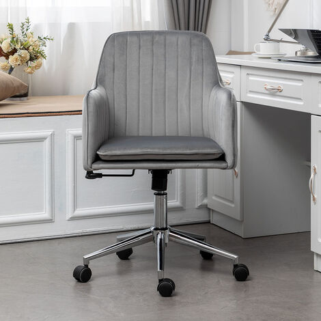 Velvet Upholstered Office Chair Swivel Computer Desk Chair with Chrome Base, Pink