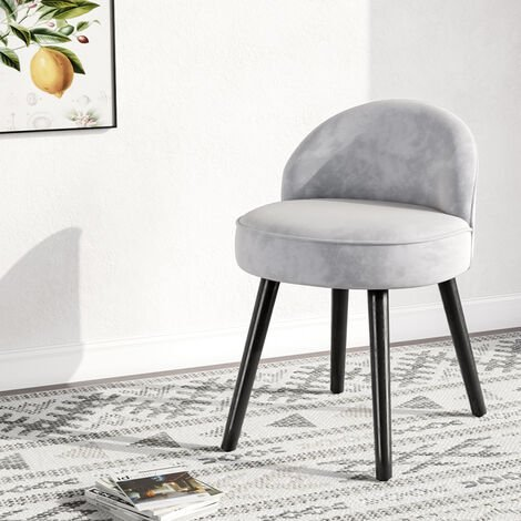 Velvet Vanity Dressing Table Stool Low Back Makeup Stool Chair Grey