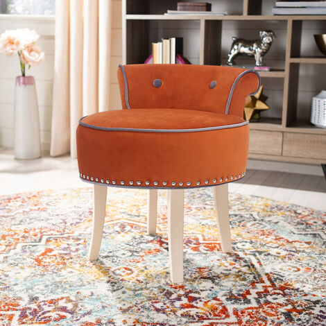 Velvet Vanity Dressing Table Stool Makeup Piano Chair Living Dining Room Bedroom Seat
