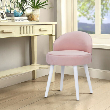 Velvet Vanity Stool Bedroom Makeup Dressing Table Desk Chair Padded Seat