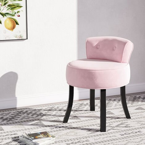 Velvet Vanity Stool Dressing Table Chair Soft Seat Low Back Makeup Stools Pink