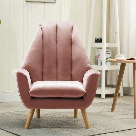 Velvet Wingback Armchair Scalloped Cocktail Chair