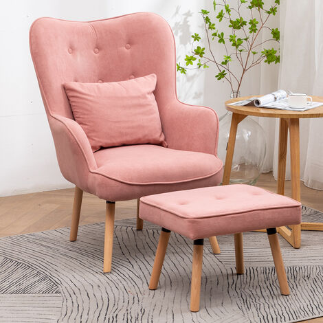 Velvet Wingback Lounge Armchair and Footstool