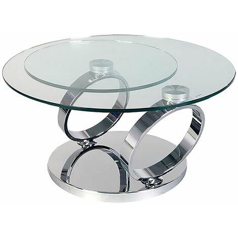 """main image of """"Venetia - Table Basse Acier et 2 Plateaux Verre"""""""