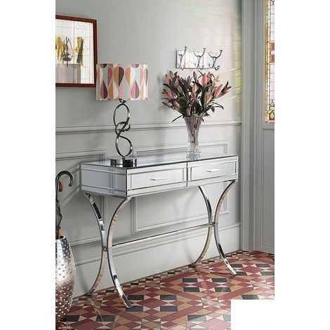 Venetian Glass Mirrored Furniture Table Modern Hall Console Large Contemporary