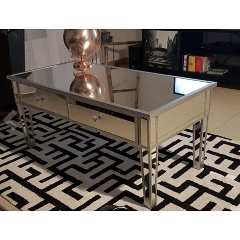 Venetian Mirrored Coffee Table Vintage Silver Furniture 2 Drawers Storage Glass