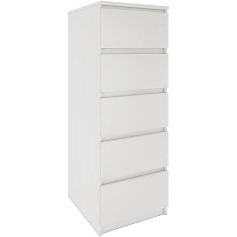 VENICE | Commode contemporaine haute chambre/salon/bureau 45x40x111 | 5 tiroirs coullissants | Meudble de rangement | Chiffonier | blanc