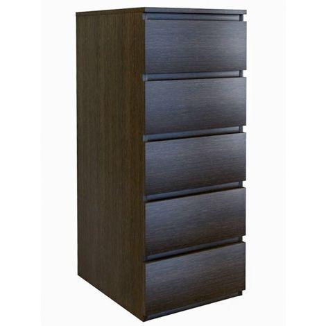 VENICE | Commode contemporaine haute chambre/salon/bureau 45x40x111 | 5 tiroirs coullissants | Meudble de rangement | Chiffonier | wenge