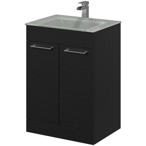 Venice Grey 600 Napoli Black Oak 2 Door Unit & Basin
