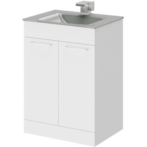 Venice Grey 600 Napoli Gloss White 2 Door Unit & Basin