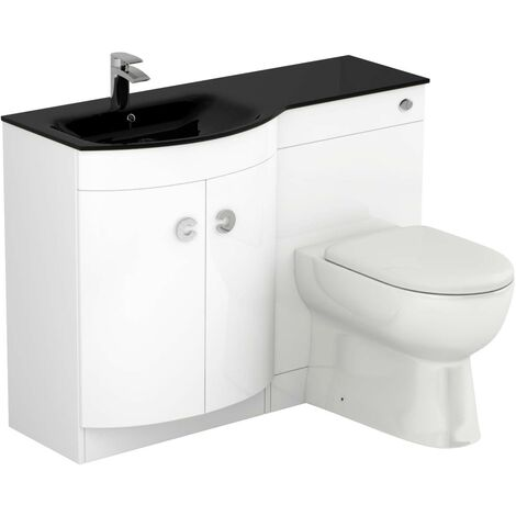 Venice Left Hand Curved Black Glass 1100mm White Vanity Unit Toilet Suite