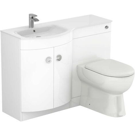 Venice Left Hand Curved White Glass 1100mm White Vanity Unit Toilet Suite
