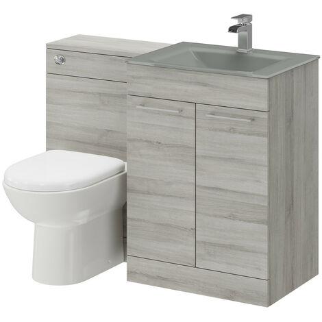 Venice Mono Grey Glass 2 Door Molina Ash Vanity Unit Toilet Suite