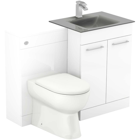 Venice Mono Grey Glass 2 Door White Gloss Vanity Unit Toilet Suite