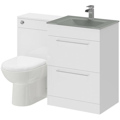 Venice Mono Grey Glass 2 Drawer White Gloss Vanity Unit Toilet Suite