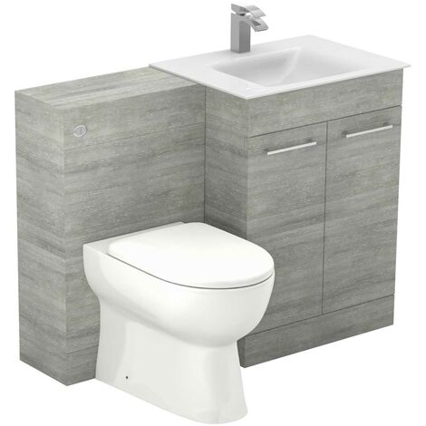 "main image of ""Venice Mono White Glass 1100mm 2 Door Molina Ash Vanity Unit Toilet Suite"""