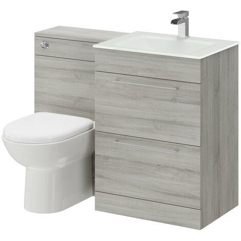 "main image of ""Venice Mono White Glass 1100mm 2 Drawer Molina Ash Vanity Unit Toilet Suite"""
