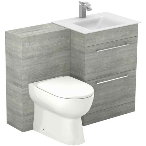 Venice Mono White Glass 2 Drawer Molina Ash Vanity Unit Toilet Suite