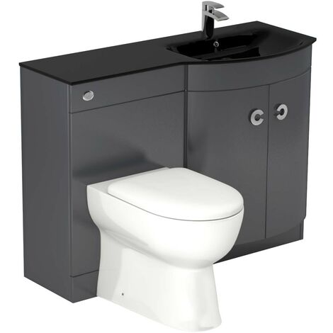 Venice Right Hand Curved Black Glass 1100mm Grey Vanity Unit Toilet Suite