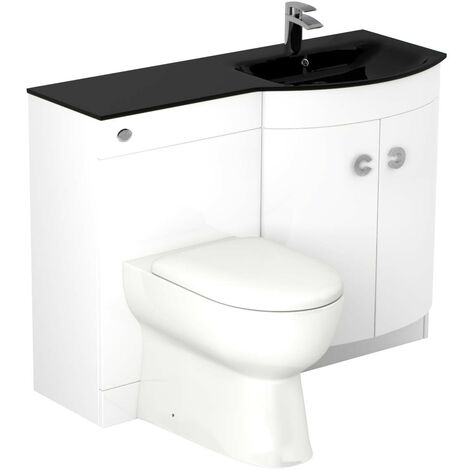 Venice Right Hand Curved Black Glass 1100mm White Vanity Unit Toilet Suite