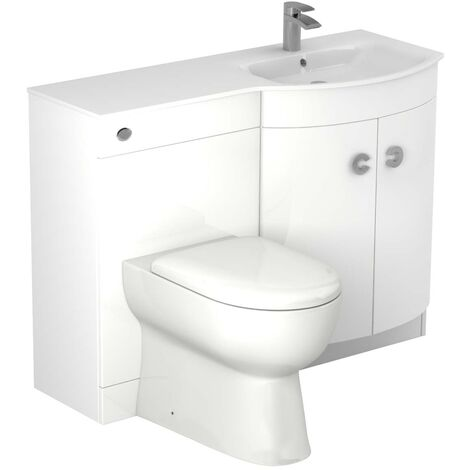 Venice Right Hand Curved White Glass 1100mm White Vanity Unit Toilet Suite