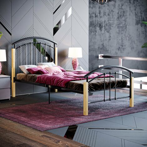 Venice Single Metal & Wood Bed, Black