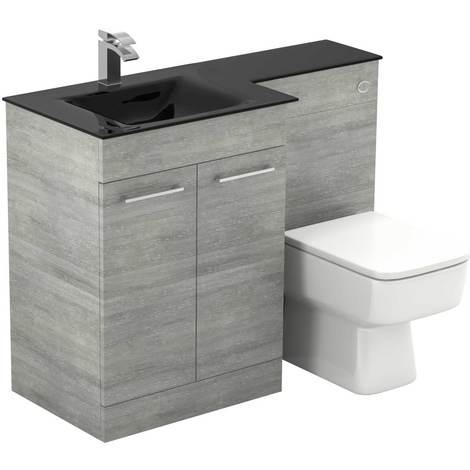 Venice Square Left Hand Anthracite Glass 1100mm 2 Door Molina Ash Vanity Unit Toilet Suite
