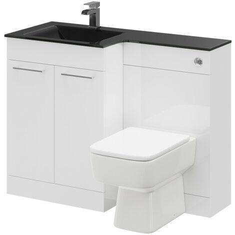 Venice Square Left Hand Anthracite Glass 1100mm 2 Door White Vanity Unit Toilet Suite