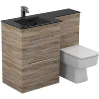 Venice Square Left Hand Anthracite Glass 1100mm 2 Drawer Bordalino Oak Vanity Unit Toilet Suite