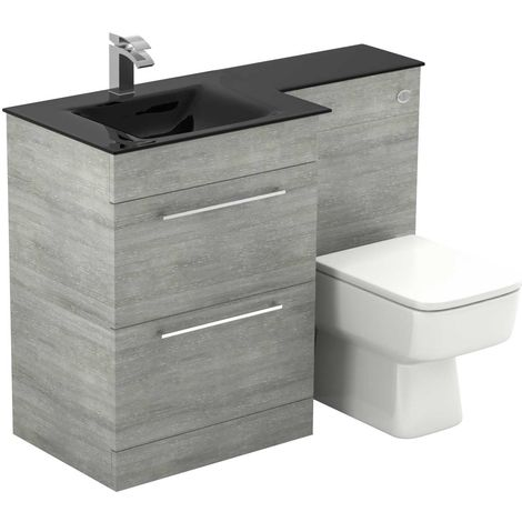 Venice Square Left Hand Anthracite Glass 1100mm 2 Drawer Molina Ash Vanity Unit Toilet Suite