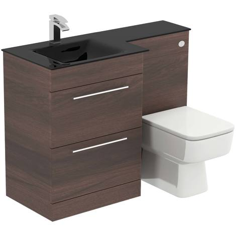 Venice Square Left Hand Anthracite Glass 1100mm 2 Drawer Walnut Vanity Unit Toilet Suite