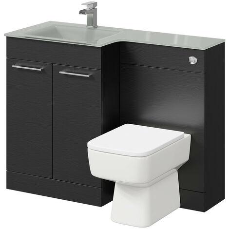 Venice Square Left Hand Grey Glass 1100mm 2 Door Black Oak Vanity Unit Toilet Suite
