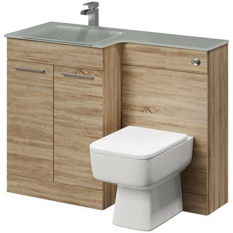 Venice Square Left Hand Grey Glass 1100mm 2 Door Bordalino Oak Vanity Unit Toilet Suite