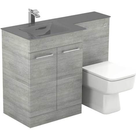 Venice Square Left Hand Grey Glass 1100mm 2 Door Molina Ash Vanity Unit Toilet Suite