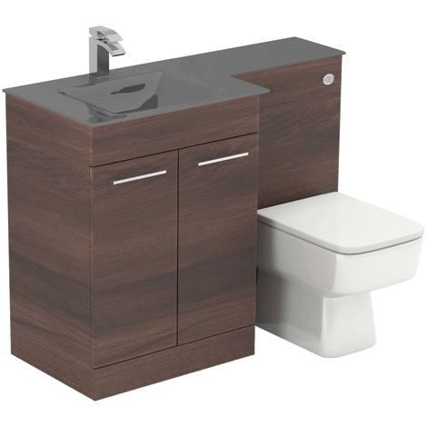 Venice Square Left Hand Grey Glass 1100mm 2 Door Walnut Vanity Unit Toilet Suite