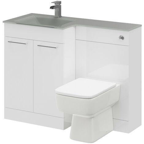 Venice Square Left Hand Grey Glass 1100mm 2 Door White Vanity Unit Toilet Suite