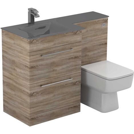 Venice Square Left Hand Grey Glass 1100mm 2 Drawer Bordalino Oak Vanity Unit Toilet Suite